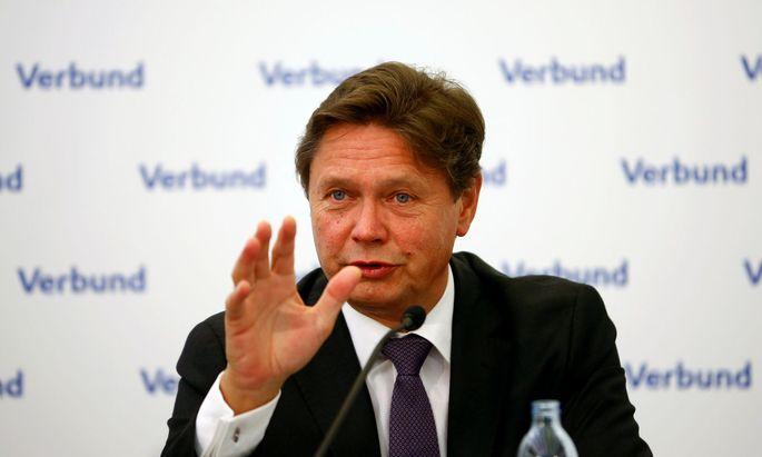 Austrian hydropower producer Verbund CEO Anzengruber addresses a news conference in Vienna