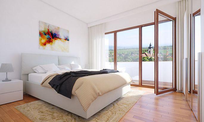Schlafzimmer in der Seniorenresidenz Am Kurpark Wien Oberlaa.