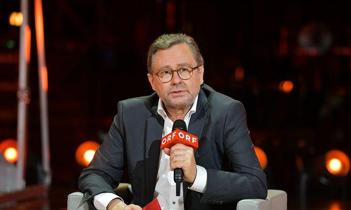 Alexander Wrabetz bei der Pressekonferenz zu den ORF-Programmhighlights. Den Journalisten wurde wie allen Besuchern am Eingang zum ORF-Zentrum das Fieber gemessen.
