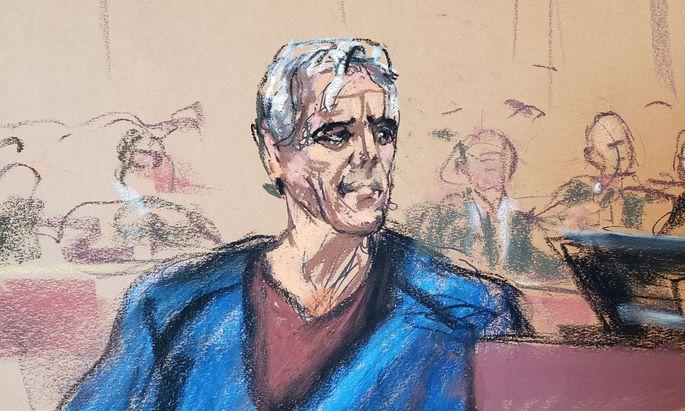 Gerichtsskizze von Jeffrey Epstein