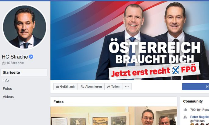 Facebookseite von Strache
