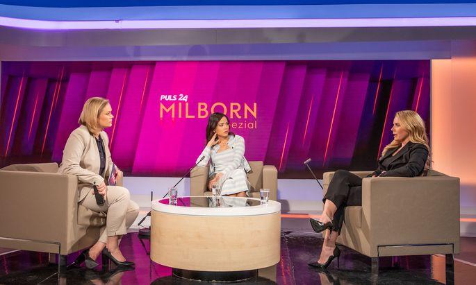 Corinna Milborn mit den beiden Ex-Moderatorinnen Katia Wagner und Raphaela Scharf.