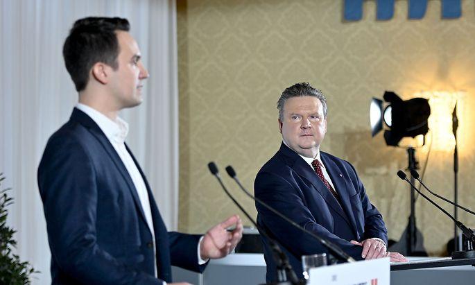 Neos-Chef Christoph Wiederkehr (l.) und Bürgermeister Ludwig