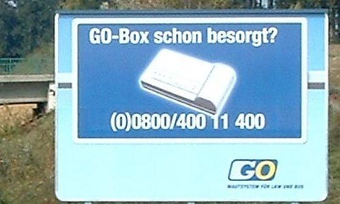 THEMENBILD LKW-MAUT / GO - BOX - HINWEISSCHILD