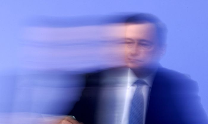 ECB President Draghi speaks during a news conference at ECB headquarters in Frankfurt