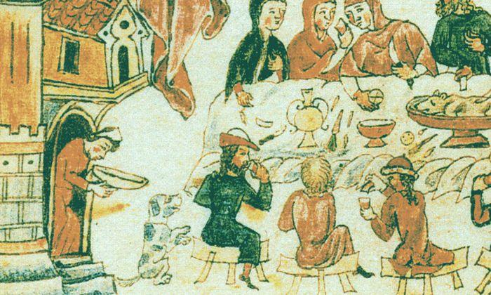 Ikonografischer Beleg eines byzantinischen Schoßhundes (1362).