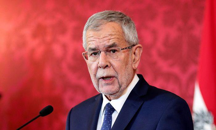 Austrian President Alexander Van der Bellen delivers a speech to the nation in Vienna