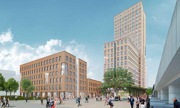 Das Projekt des Holzhochhauses in der Seestadt Aspern: Bis 2019 soll das 84 Meter hohe Gebäude vollendet sein.