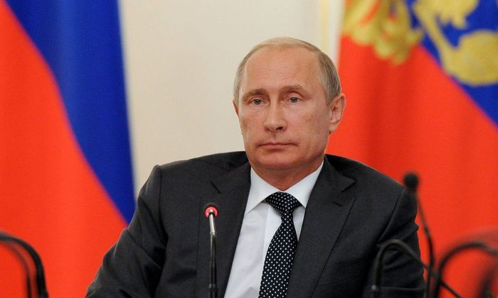 ITAR TASS MOSCOW RUSSIA AUGUST 27 2014 Russia s president Vladimir Putin at a government meetin