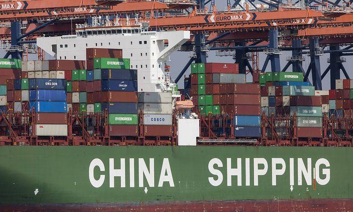 Der Seehafen von Rotterdam, Niederlande, Tiefseehafen Maasvlakte 2, auf einer kuenstlich angelegten Landflaeche vor urspr