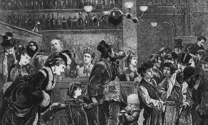 Gäste aller Gesellschaftschichten in einem Londoner Pub