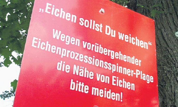 Bei Befall stellen Stadtgarten- und Forstamt Warnschilder auf (Archivbild).