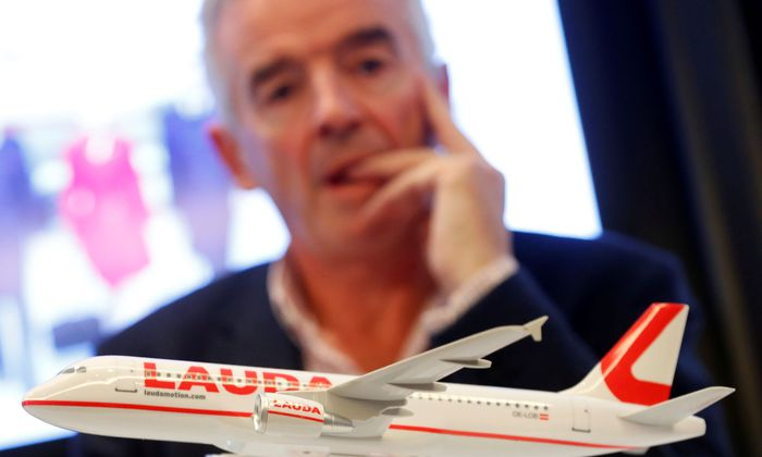 Ryanair Chief Executive O'Leary addresses a news conference in Vienna