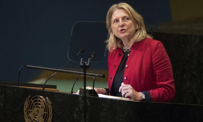 Österreichs Außenministerin, Karin Kneissl, bei der UNO in New York.