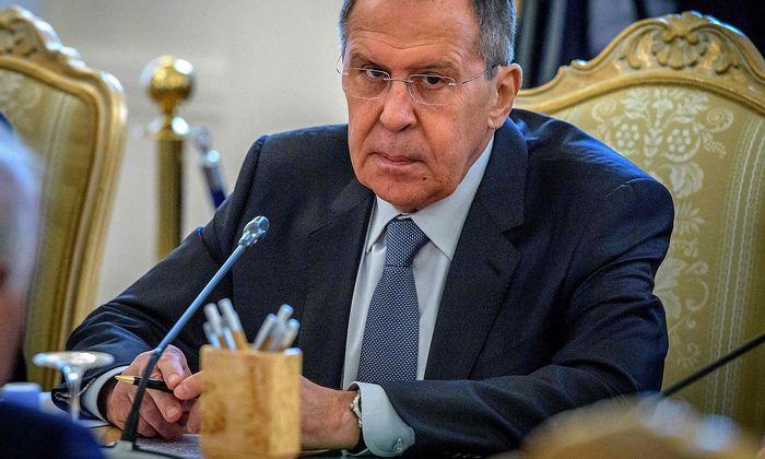 Der russische Außenminister Sergej Lawrow in Moskau bei einem Treffen mit dem bangladeschischen Außenminister.