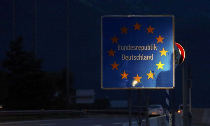 A German border sign is seen on the highway near Salzburg