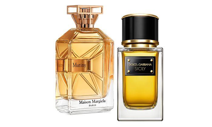 """Florierend. """"Mutiny"""" von Maison Margiela, 50 ml um 100 Euro, nur bei Marionnaud, """"Sicily"""" von Dolce & Gabbana, 50 ml um 218 Euro, nur in Modeboutiquen der Marke."""