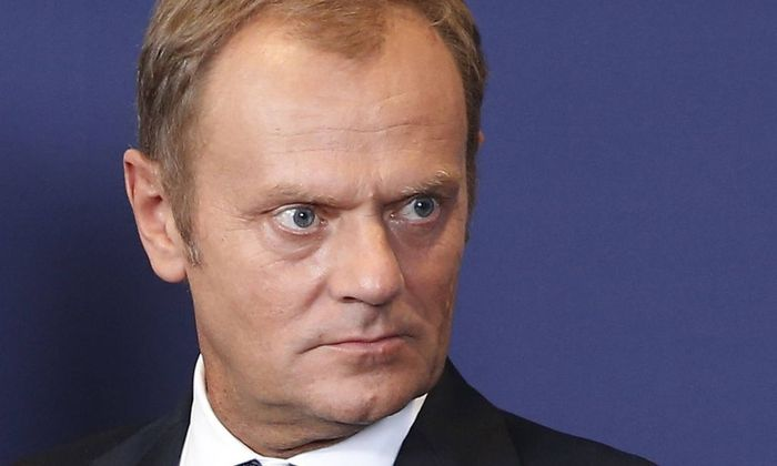 140830 BRUSSELS Aug 30 2014 Polish Prime Minister Donald Tusk takes part in a photo sessi