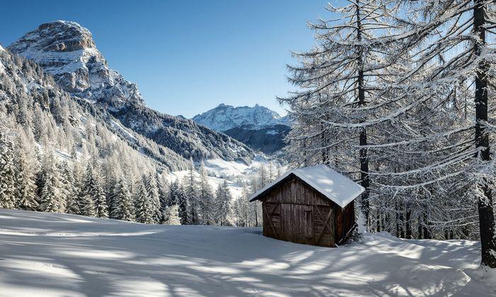 Gegensatz. So wild die Kulisse, so sanft eigentlich das Gelände des Skigebiets.
