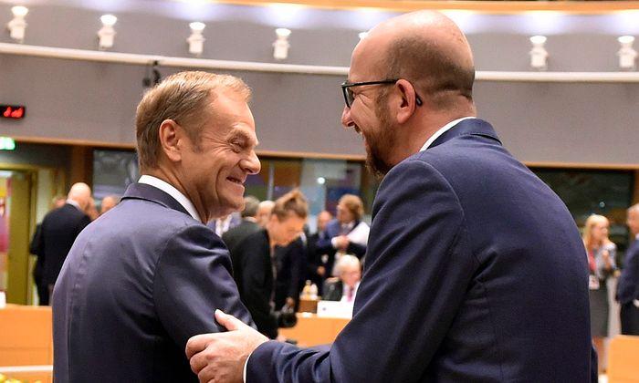 Charles Michel (r.) folgt am 1. Dezember Donald Tusk (l.) als EU-Ratspräsident.