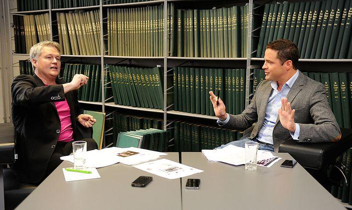 """Klubobleute auf neutralem Boden: David Ellensohn (Grüne, links) und Johann Gudenus (FPÖ, rechts) bei der Diskussion in der """"Presse""""-Redaktion."""