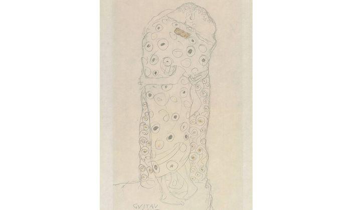 """In dieser Skizze stehen noch beide """"Liebenden"""" (1907/1908) – in dem in denselben Jahren ausgeführten """"Kuss""""-Gemälde ist es dann aber auch schon wieder zu Ende mit der Gleichberechtigung, da kniet die Frau. Würde sie aufstehen, wäre sie eine Riesin."""