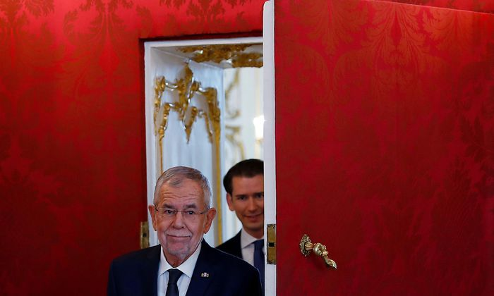 President Alexander Van der Bellen and head of Peoples Party and former Chancellor Sebastian Kurz meet in Vienna