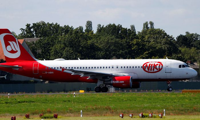 An aircraft operated by German carrier Niki and Air Berlin sits on the tarmac of Berlin's Tegel