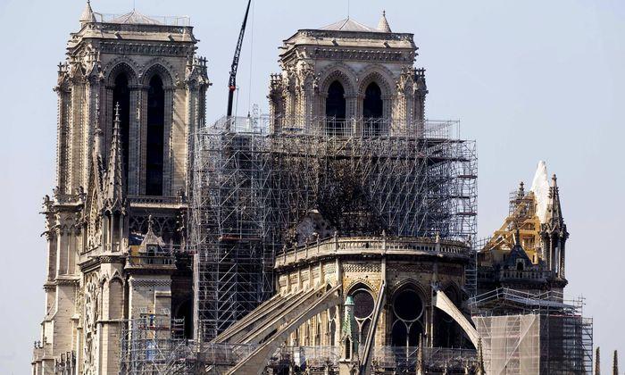 Paris France April 19 2019 illustration image of the cathedral Notre Dame de Paris after the fi
