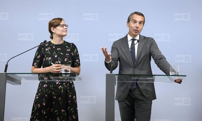 SPÖ-Vorsitzender Christian Kern und die stellvertretende Bundesgeschäftsführerin Andrea Brunner