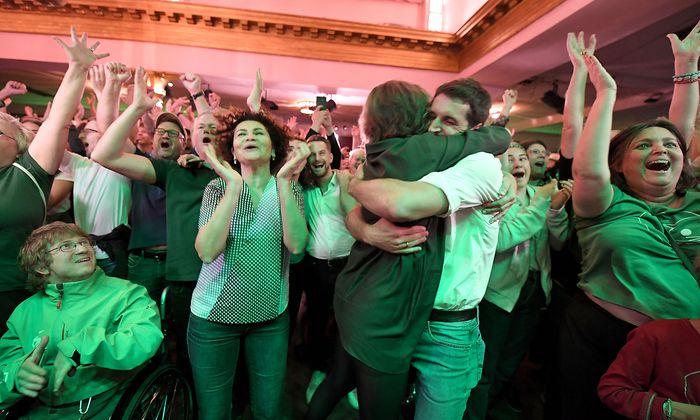 Jubel in der Wahlzentrale der Grünen