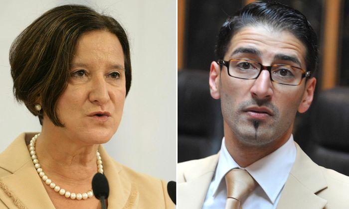 Innenministerin Johanna Mikl-Leitner und der Grüne Bundesrat Efgani Dönmez