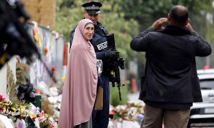Szene an einem der Schauplätze der Anschläge in Christchurch auf Neuseelands Südinsel.