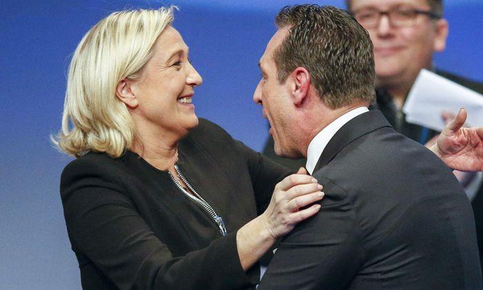 Archivbild Marine Le Pen und Heinz-Christian Strache.