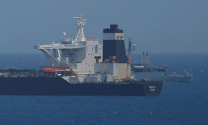 """Öl-Supertanker """"Grace 1"""" liegt in britischen Gewässern vor Anker."""