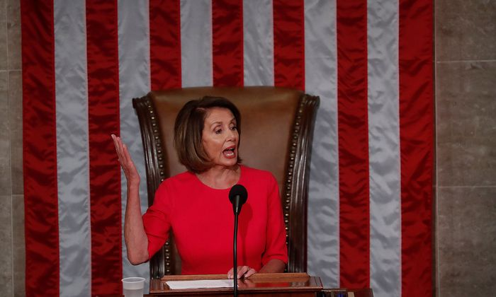 House Speaker-designate Nancy Pelosi (D-CA) addresses the U.S. House of Representatives in Washington