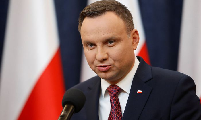 Poland´s President Andrzej Duda speaks during a news conference at the Presidential Palace in Warsaw