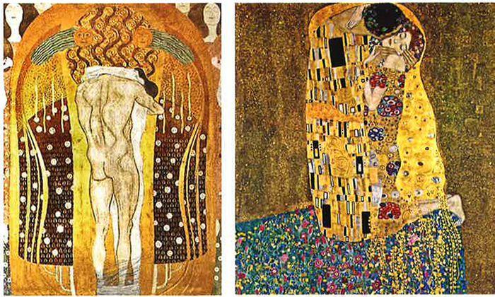 """Klimts Umarmungen: Das männliche Prinzip ist zwar übermächtig, dafür gesichtslos. Die Frau behält ihre Individualität in der sanften Liebkosung. Links Beethoven-, rechts """"Der Kuss""""."""