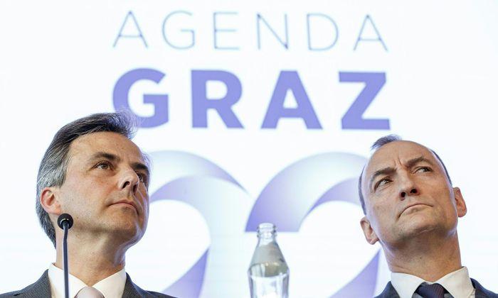 Bürgermeister Siegfried Nagl (l./ÖVP) und Vizebürgermeister Mario Eustacchio (FPÖ)