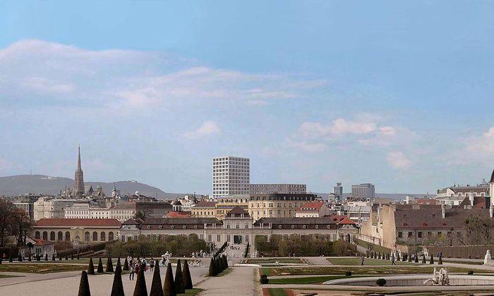 So könnte das geplante Hochhaus im Stadtbild aussehen: Blick vom Belvedere in Richtung Innenstadt. (Visualisierung)nen.