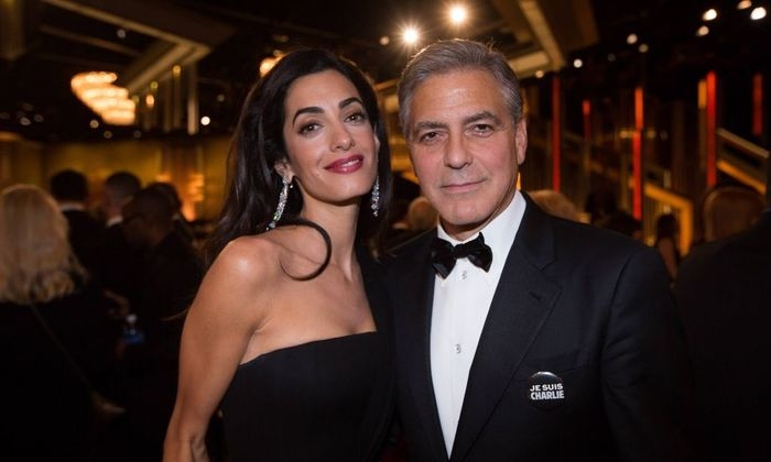 72nd ANNUAL GOLDEN GLOBE AWARDS 2015 Tables BEVERLY HILLS USA Amal Clooney and George Clooney at t
