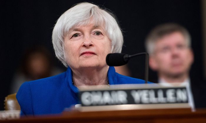 Janet Yellen Chair of the Board of Governors of the Federal Reserve testifies during a Joint Econo