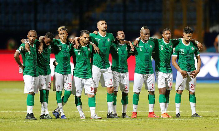 Die Madagassen vor dem Spiel gegen Kongo vergangene Woche.