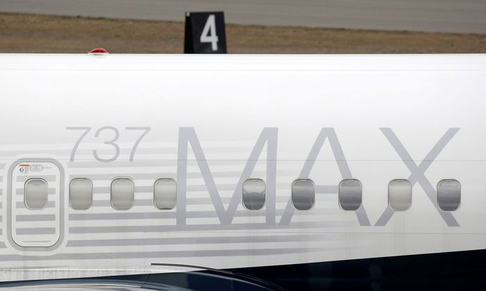FILE PHOTO: A Boeing 737 MAX 8 aircraft is parked at a Boeing production facility in Renton