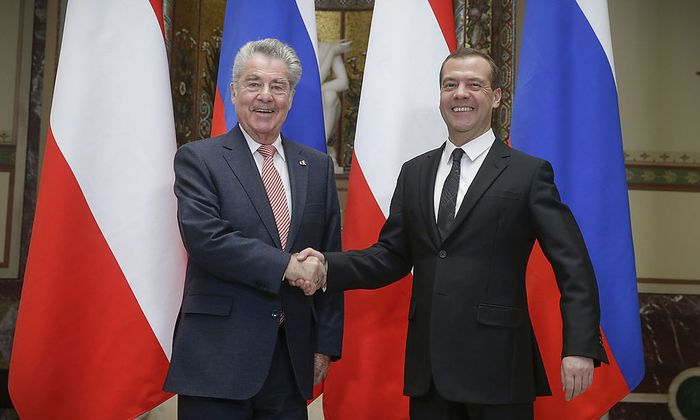 Bundespräsident Fischer und der russische Regierungsschef Dmitri Medwedew