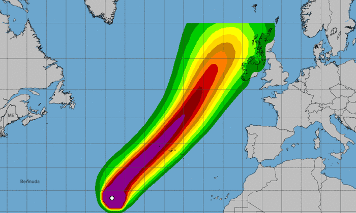 """Die Route von """"Lorenzo"""" durch den Atlantik in Richtung Irland."""