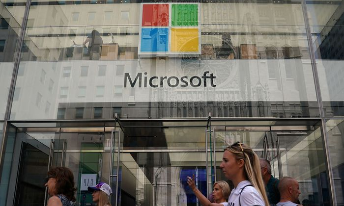 A Microsoft store is pictured in New York City