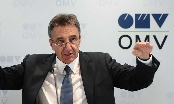 Roiss, chief executive of Austrian oil and gas group OMV, addresses a news conference in Vienna
