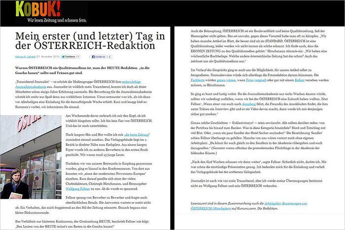 Der Blogeintrag ''Mein erster (und letzter) Tag in der 'Österreich'-Redaktion'' auf Kobuk.at