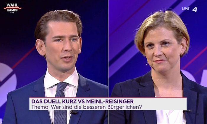 """Sebastian Kurz (ÖVP) und Beate Meinl-Reisinger (Neos) im """"Wahlduell"""" auf """"Puls4"""" am 16. September 2019."""